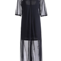 Black Casual Mesh Spliced Dress Twinset
