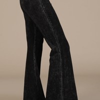 Chatoyant Mineral Wash Flare Pants in Black