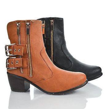 Saint Chestnut Pu By Dollhouse, Round Toe Western Blackstrap Buckle Zip Up Ankle Riding Booties