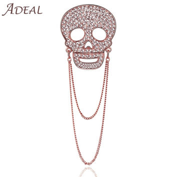 Rose Gold Full Rhinestone Skull Brooch Lapel Pins Broches For Women Exquisite For Collar Dress Scarf Wedding Accessories
