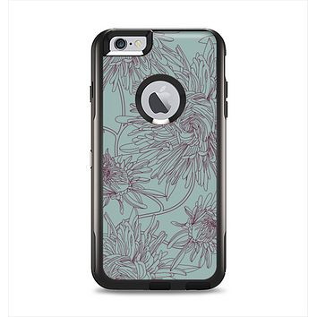 The Teal Aster Flower Lined Apple iPhone 6 Plus Otterbox Commuter Case Skin Set
