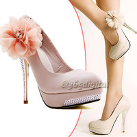 Romantic Flower Women's Sexy Platform Pumps Stilettos High Heels Wedding Shoes