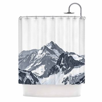 Snow Capped Mountains - Black White Nature Photography Shower Curtain