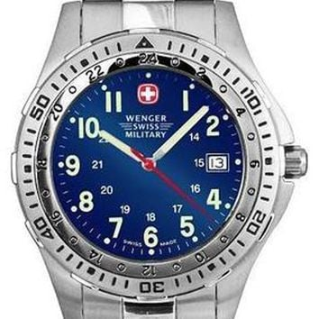 Wenger 72193 Men's Battalion Blue Dial Stainless Steel 100M WR Watch
