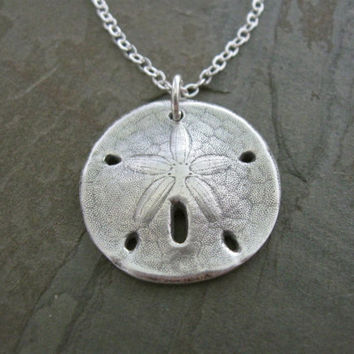 Silver sand dollar necklace, hand cast from real sand dollar, artisan handmade beach necklace, summer jewelry, nautical sand dollar pendant
