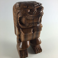Vintage Hand Carved Wood Big Tiki Statue Retro Brown Tiki God Wooden Carving Vintage Hawaiiana Tiki Bar Decor