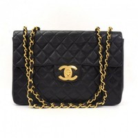 Vintage Chanel Maxi Jumbo XL Black Quilted Leather Shoulder Bag
