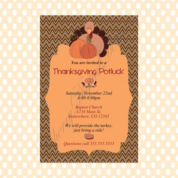 Plaid Turkey Thanksgiving Potluck Printable Invitation. Thanksgiving Dinner Invitation.  Fall Party Invitation. Thanksgiving Potluck Invite.
