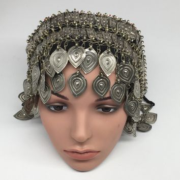 Turkmen Headdress Headpiece Afghan Ethnic Tribal Jingle Alpaca Metal Beads,CK662