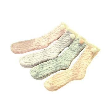 Japan Candy Color Winter Floor Sock Women Calcetines Navidad Fluffy Skarpety Velvet Lady Cute Thermal Socks Warm Lot 10 Pairs