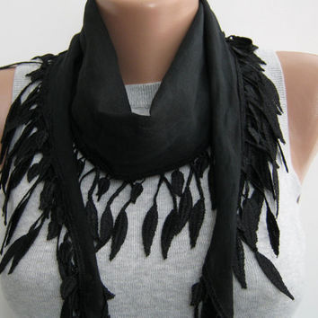 15% SALE Black cotton lace scarf,spring,summer scarf