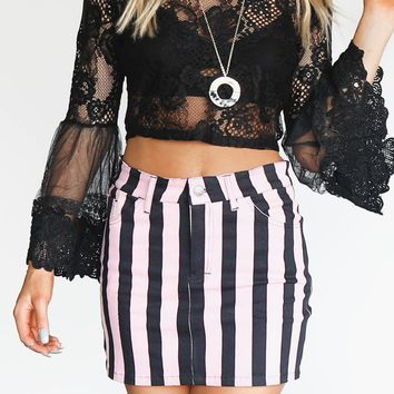 After Hours Pink and Black Stripe Skirt