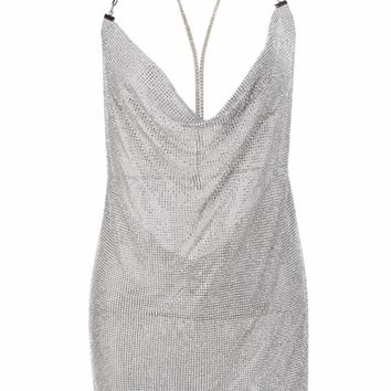 Steal the Scene Silver Metallic Rhinestone Mesh Mock Neck Cut Out Straps Backless V Neck Mini Dress