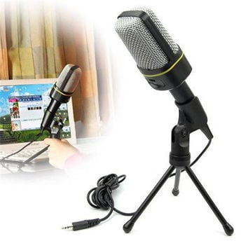 Computer Microphone Stand Studio Condenser Microphone 3.5mm Wired Clip Retro Mini Handheld Style Desktop Microphone for Pc