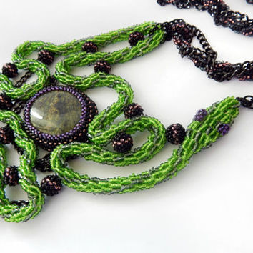 Beaded necklace The Serpents Egg - snake green crochet seed bead jewelry - Serpentine - handmade Celtic beadwork - chains and natural stone