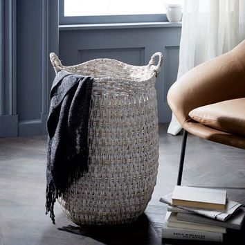 Oversize Seagrass Basket - Whitewashed