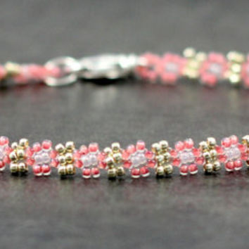 Pink Silver Beaded Anklet Seed Bead Daisy Chain Jewelry