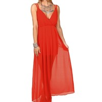 Sale Red Double Strap Chiffon Maxi Dress