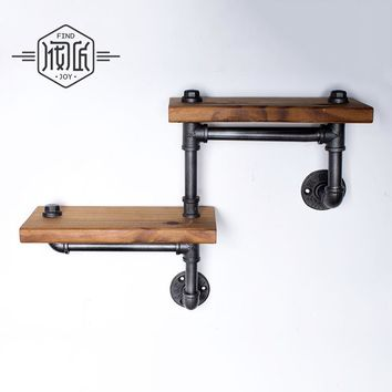 2 Piece Rustic Shelves with Industrial Water Pipes