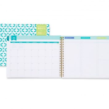 Day Designer Blue Geo Weekly/Monthly 10 x 8 Planner July 2015 - June 2016