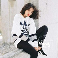 Adidas Women Long Sleeve Knit White Hoodies With Hat