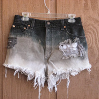 Black and White Ombre High Waisted Denim Shorts