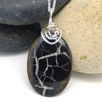 Septarian Geode Necklace, Natural Stone Pendant, Sterling Silver Wire Wrapped Stone Jewelry Handmade
