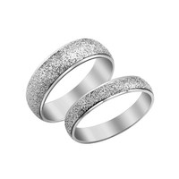 Men's Silver Frosted Dome Stainless Steel Couples Promise Engagement Ring Weeding Band