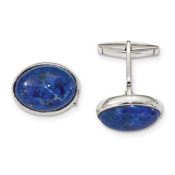 925 Sterling Silver Cabochon Lapis Cuff Links