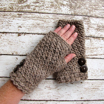 Crocheted Fingerless Gloves, Taupe Gloves, Brown Fingerless Mittens, Lamb's Wool Gloves