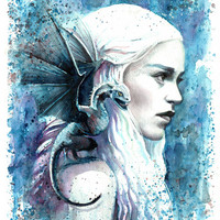 Game of Thrones - Daenerys Targaryen - Blue Dragon A4 Art Print Watercolor Painting GoT