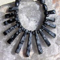 "Gemstone Crystal Fan Statement Necklace Snowflake Obsidian & Hematite  - ""Black Satin"""