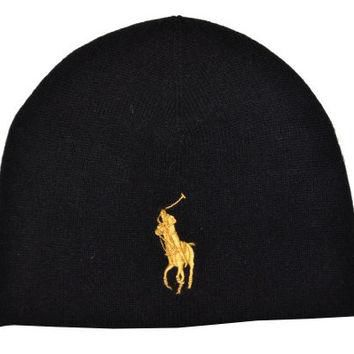 Polo Ralph Lauren Men Big Pony Wool Watch Cap (no size, Black/Golden yellow)