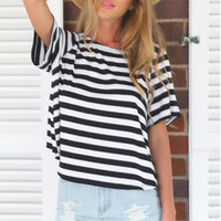 Short Sleeve Striped Casual T-Shirt