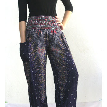 peacock pants Aladdin Pants Thai fisherman pants palazzo pants/harem pants/elephant pants/yoga pants/pyjamas/hippie clothes/baggy pants