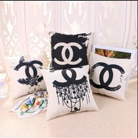 VONEY6G Chanel Cotton And Linen Pillow Sets With Core Pillow Back Car Sofa Pillowcase