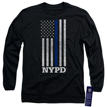 NYPD Long Sleeve T-Shirt Thin Blue Line American Flag Black Tee