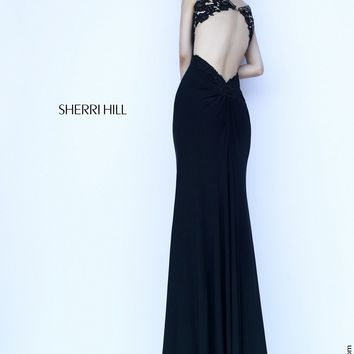 Sherri Hill 32076 Illusion Bateau Neckline Exposed Back Sweep Train