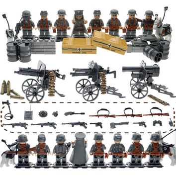 WW2 action figures with many weapons and guns SWAT military army soldiers building blocks set educational toys for children