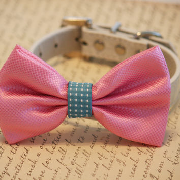 Pink wedding Dog Bow Tie attached to collar, Pet wedding, Dog Lovers