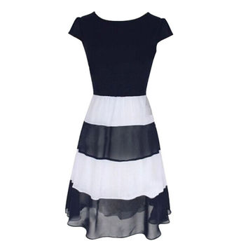 Women's Striped Chiffon Cocktail Party Skater Casual Work Pleated Dress SM6