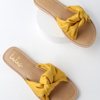 Makenzie Yellow Satin Slide Sandals