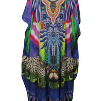 WOMENS BEACH SHEER MAXI DRESS JEWEL PRINT COVER UP GEORGETTE KIMONO CAFTAN