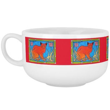 Indian Cat With Lilies Colorful Cat Design Soup Mug