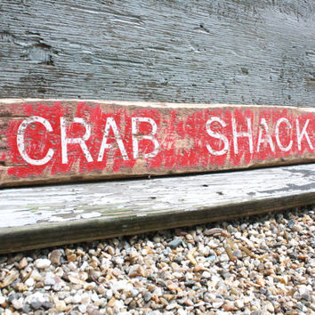 "Crab Shack Sign 36"" Rustic Distressed Directional Arrow Restaurant Wood"