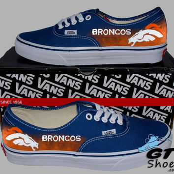 Hand Painted Vans. Denver Broncos. Football. Colorado. Superbowl. Handpainted Shoes.