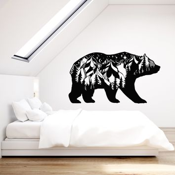 Vinyl Wall Decal Forest Animal Bear Silhouette Landscape Mountains Stickers (2817ig)