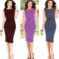 2014 new women summer polka dot dress sleeve knee length casual wear to work business party bodycon pencil dress = 1932433668