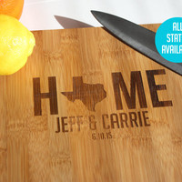 Home Cheese Board - Custom Engraved Bamboo Cheese Board - All States and Countries are available