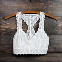 racer back all over scalloped lace bralette (white and black)